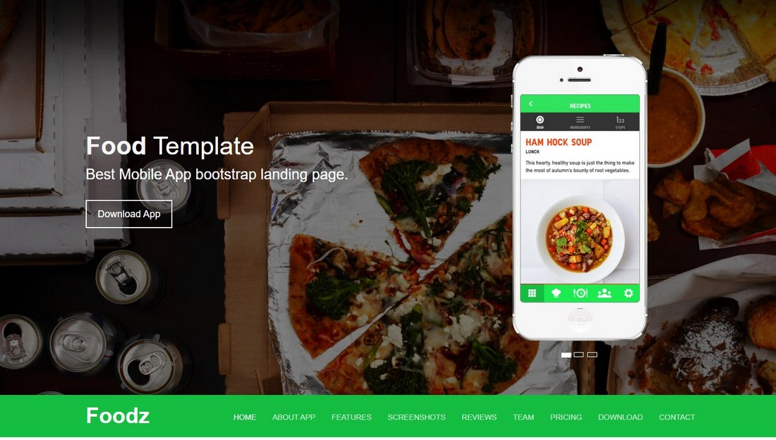 Foodz-Free-App-Landing-Page-Template 50+ Best App Landing Page Templates 2021 design tips