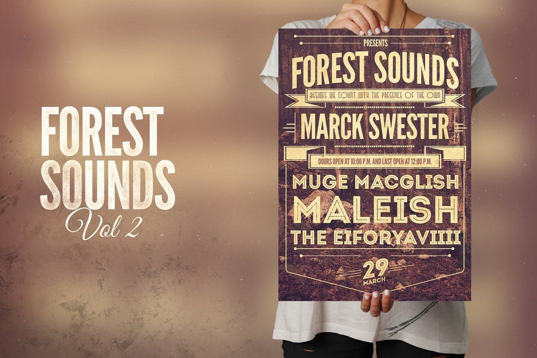 Forest-Sounds-Flyer-Poster 27 Inspiring Letterpress Style Posters design tips