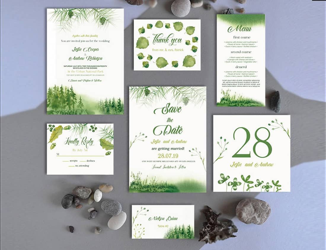 Forest Wedding Invitation Template Suite