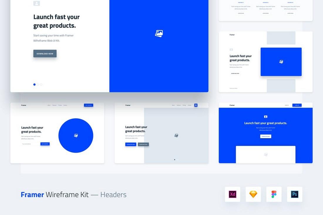 Framer Wireframe Web UI Kit Templates