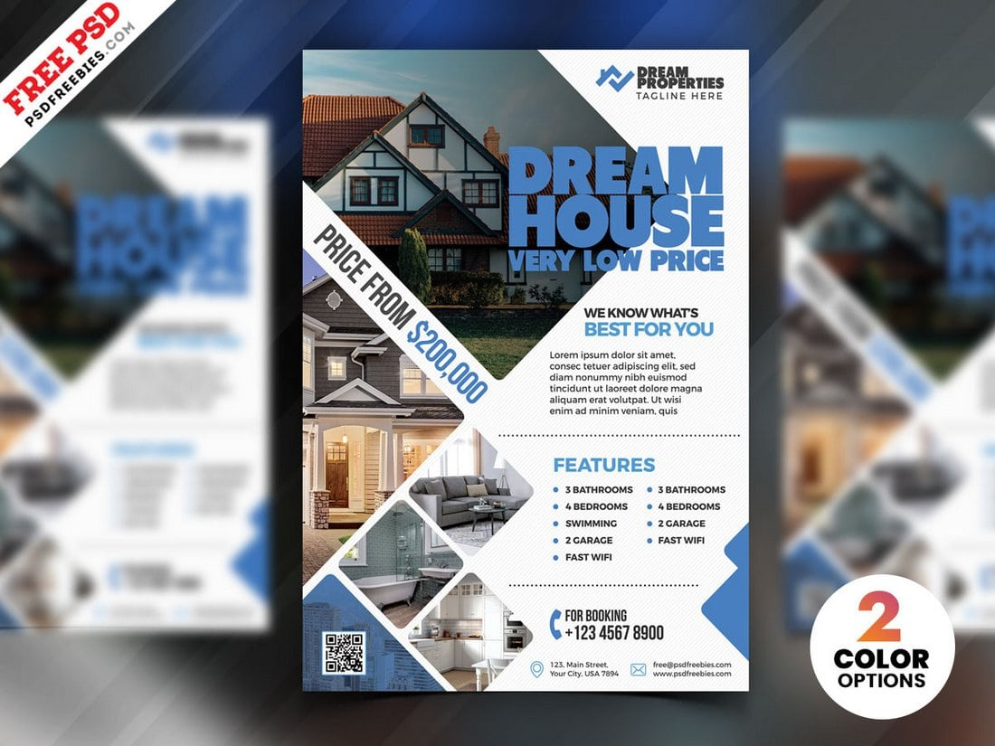 Free 2 Color Real Estate Flyer Template