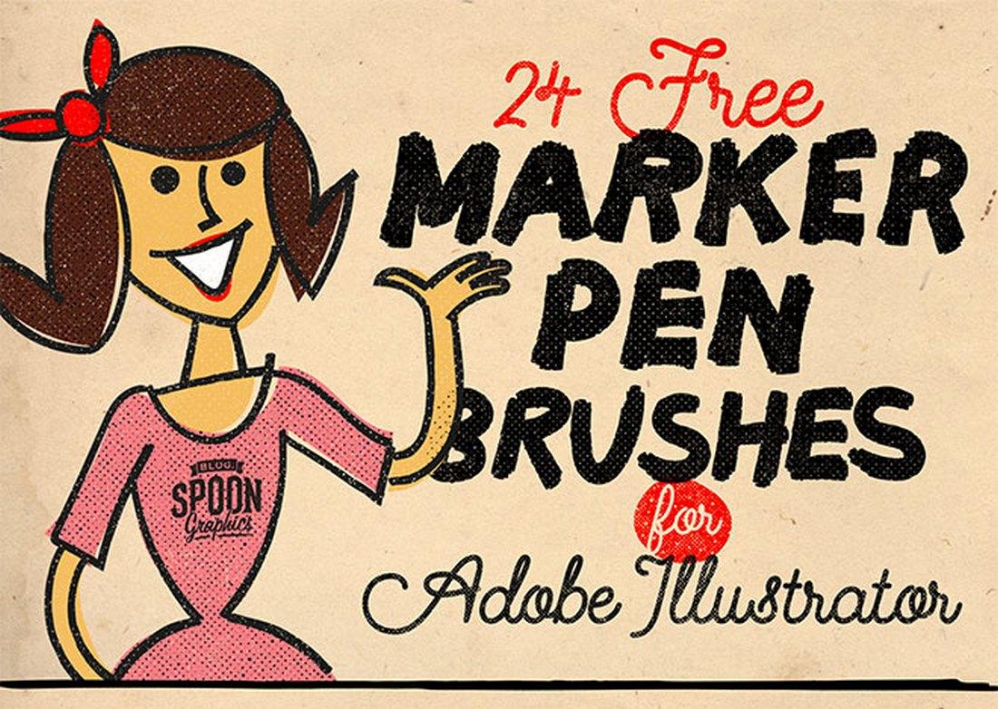 Free 24 Marker Pen Brushes for Illustrator