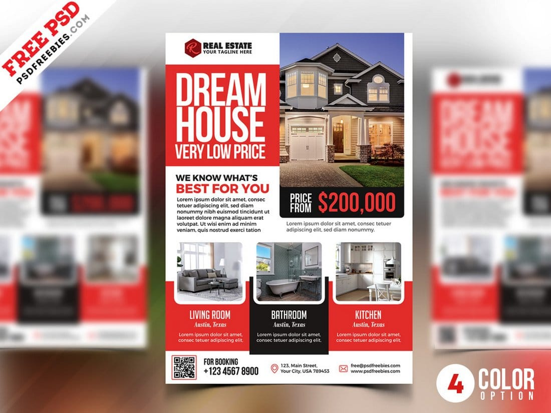 Free 4 Color Real Estate Flyer PSD