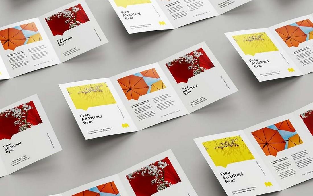 Free A5 Tri-Fold Brochure Mockup