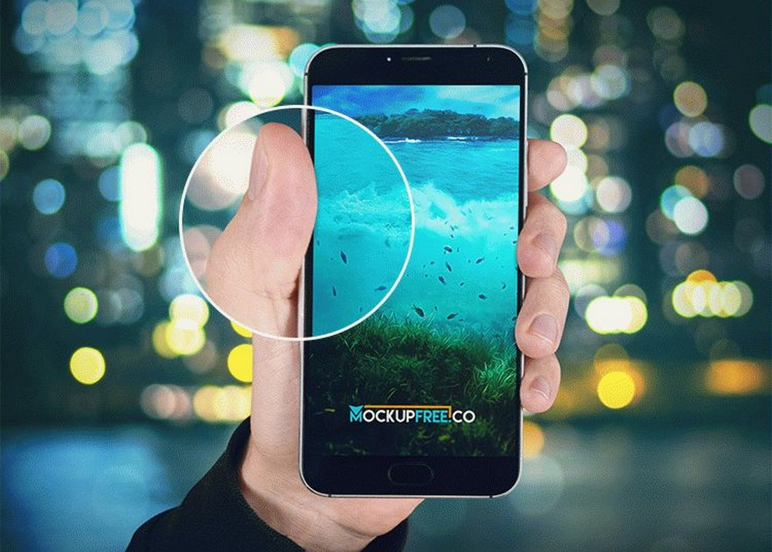 Free Android Phone Mockups with Hand