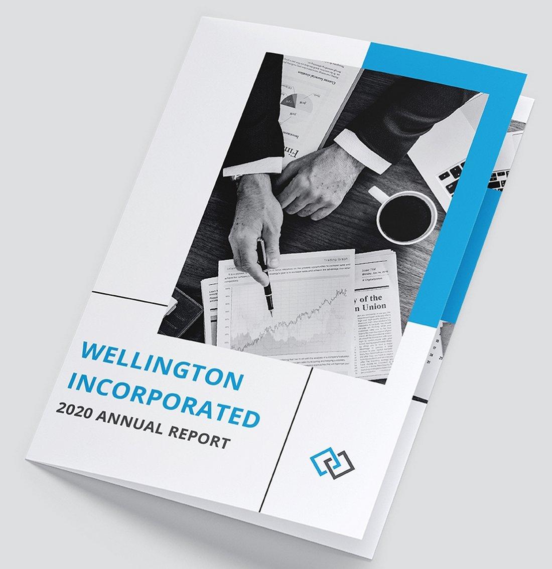 Free Annual Report Bi-Fold Brochure Template