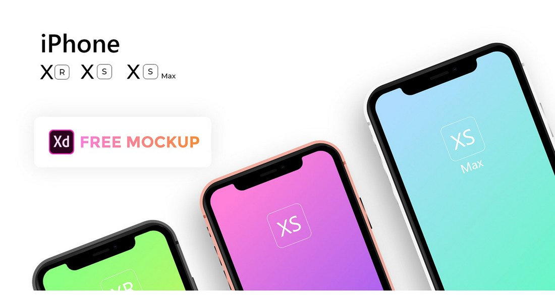 Free Apple iPhone Xs, Xs Max, Xr Mockup