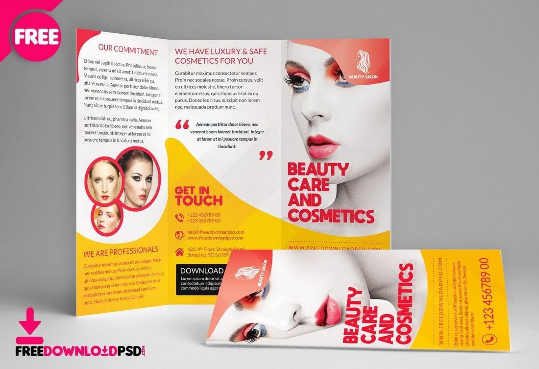 Free Beauty Salon Tri-Fold Brochure Template