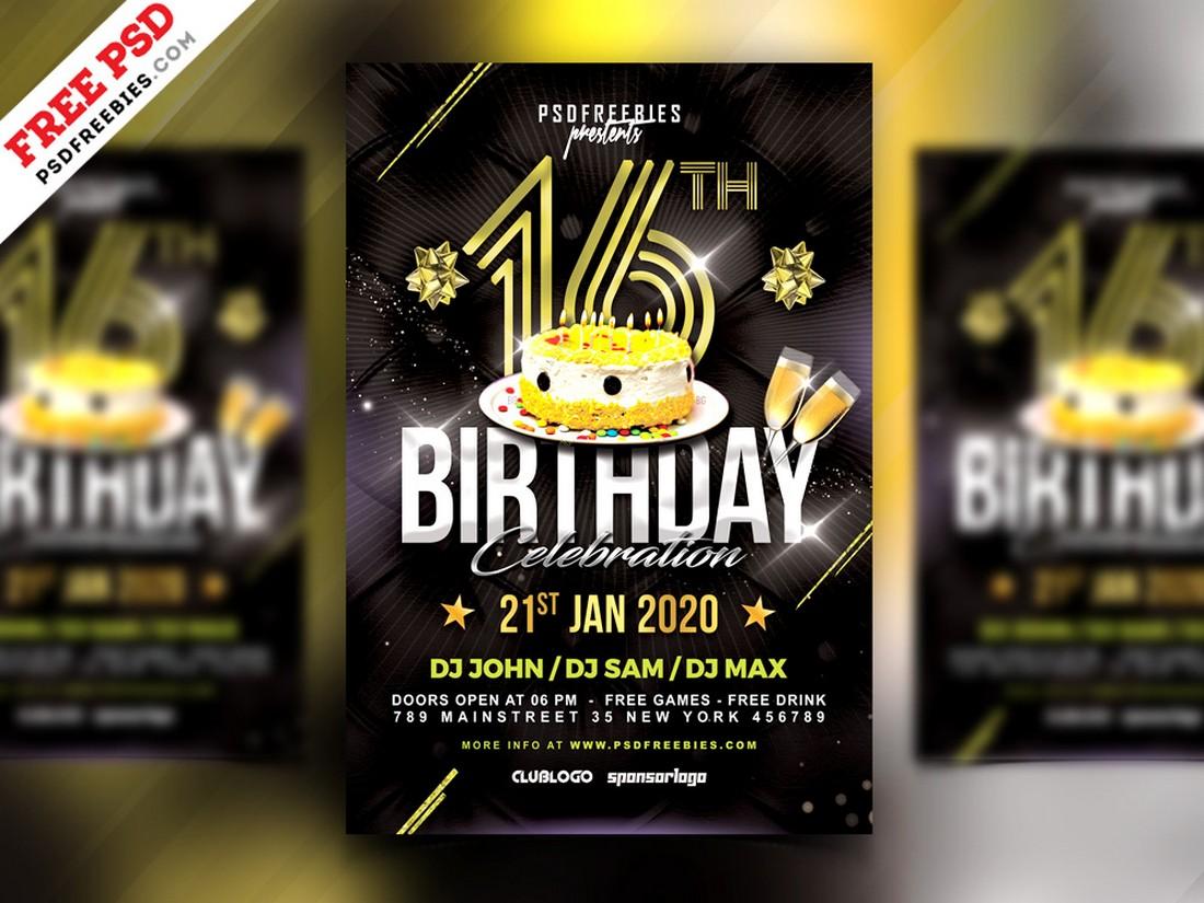 Free Birthday Night Party Flyer PSD