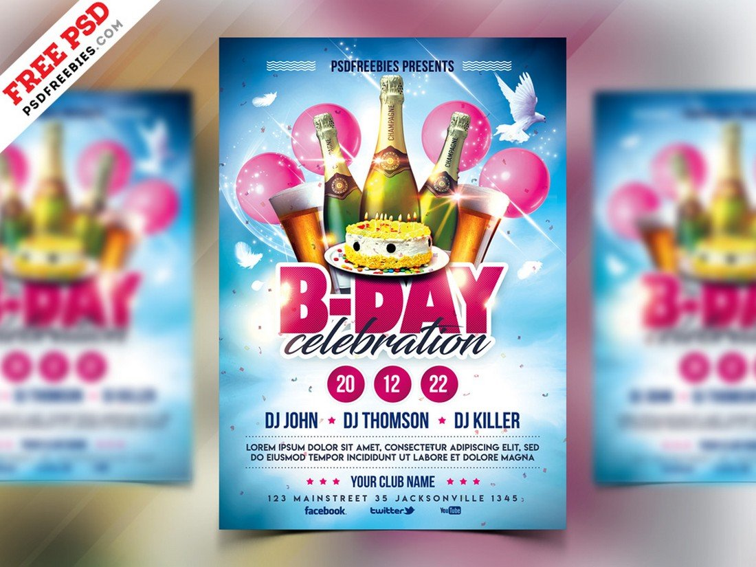 Free Birthday Party Flyer Template PSD