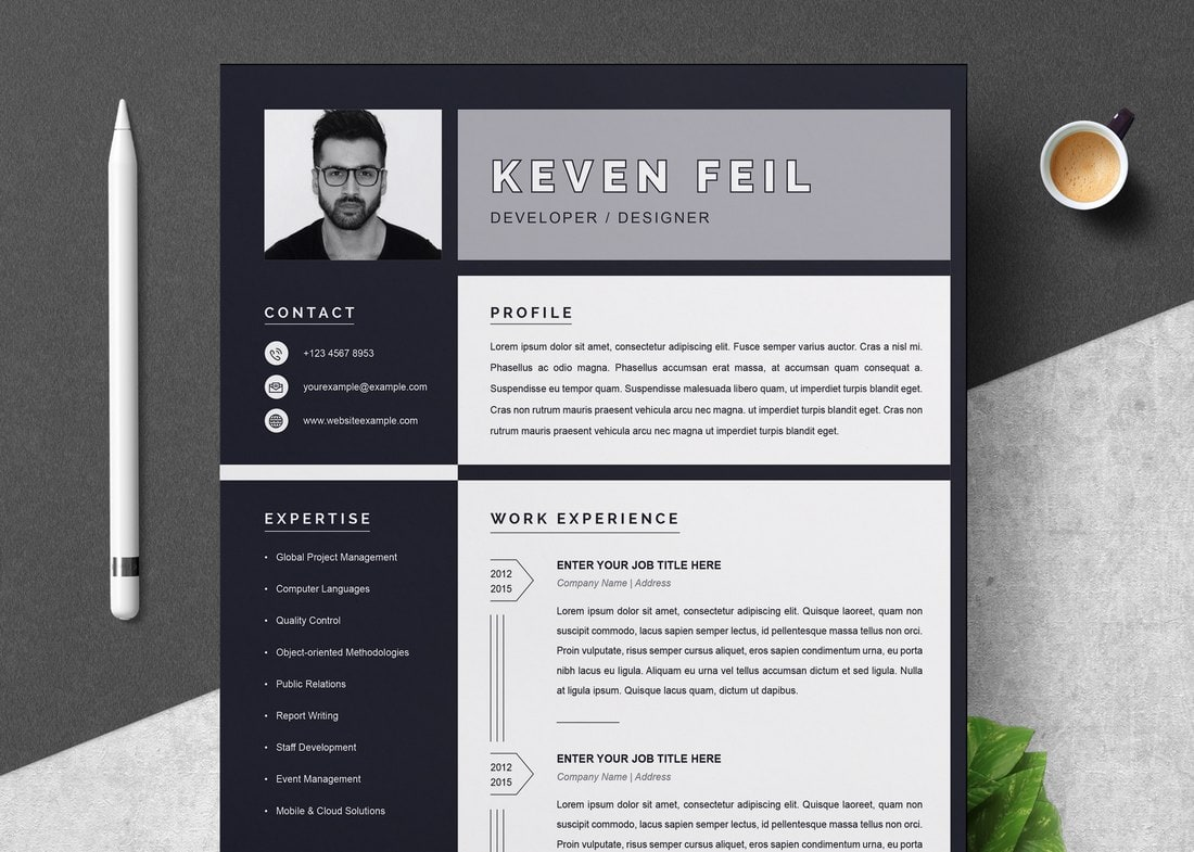 Free-Black-White-Resume-Template 50+ Best CV & Resume Templates 2020 design tips