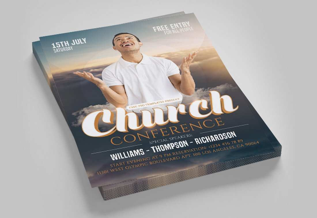 Free Church Conference Flyer Template PSD