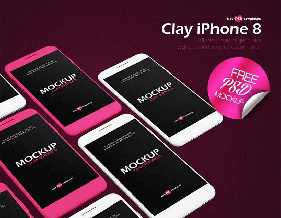 Free-Clay-iPhone-8-Mockup 20+ Best iPhone 8 Mockups design tips