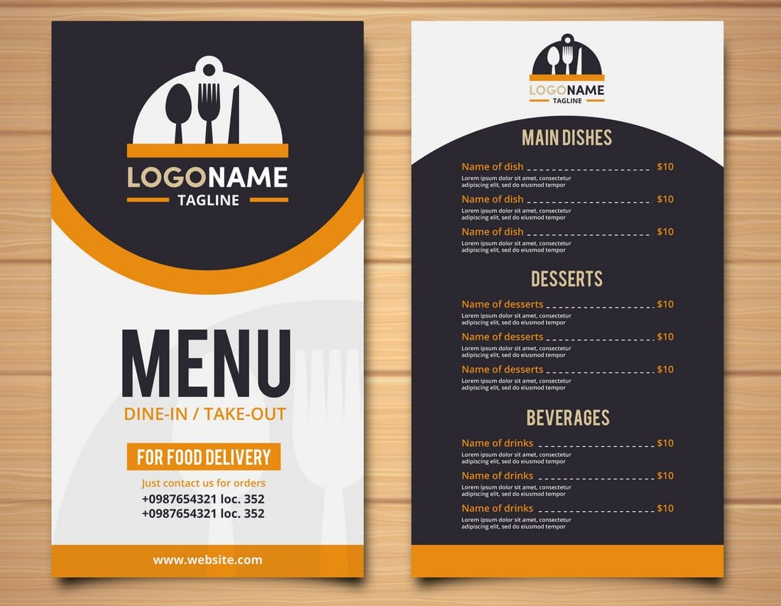 To Go Menu Template Free from designshack.net