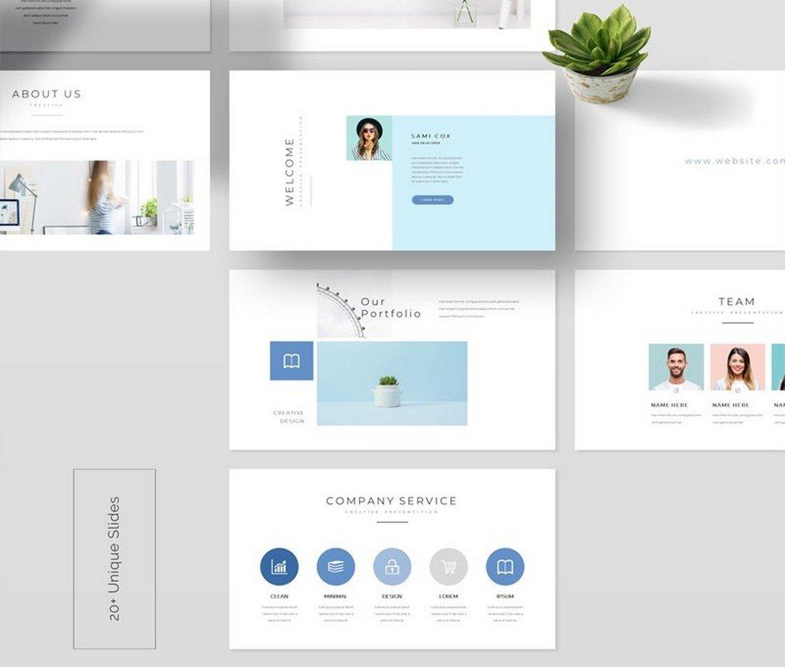 Free Clean PowerPoint Portfolio Template