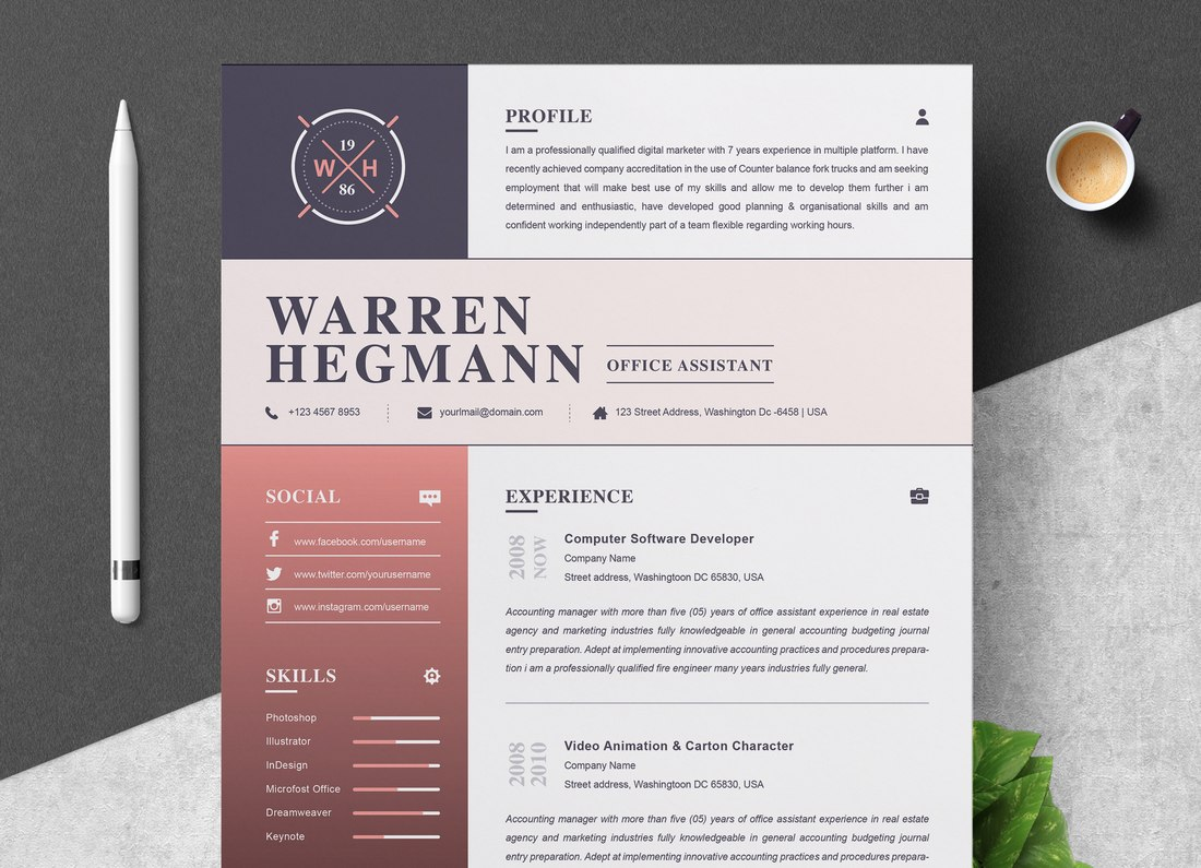 Free Colorful Resume Template for Word