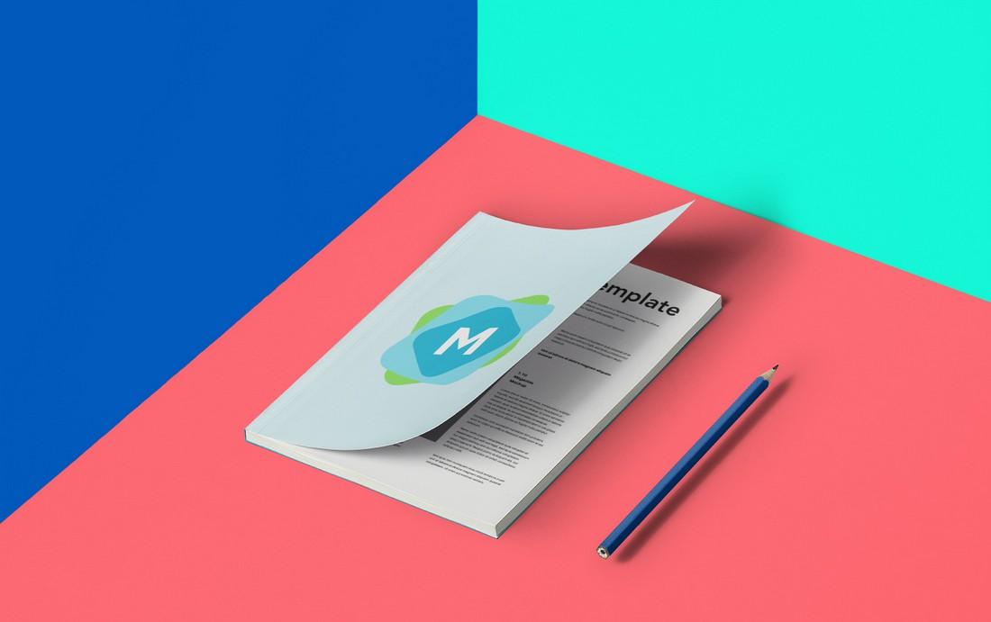 Free Colourful A5 Magazine Mockup