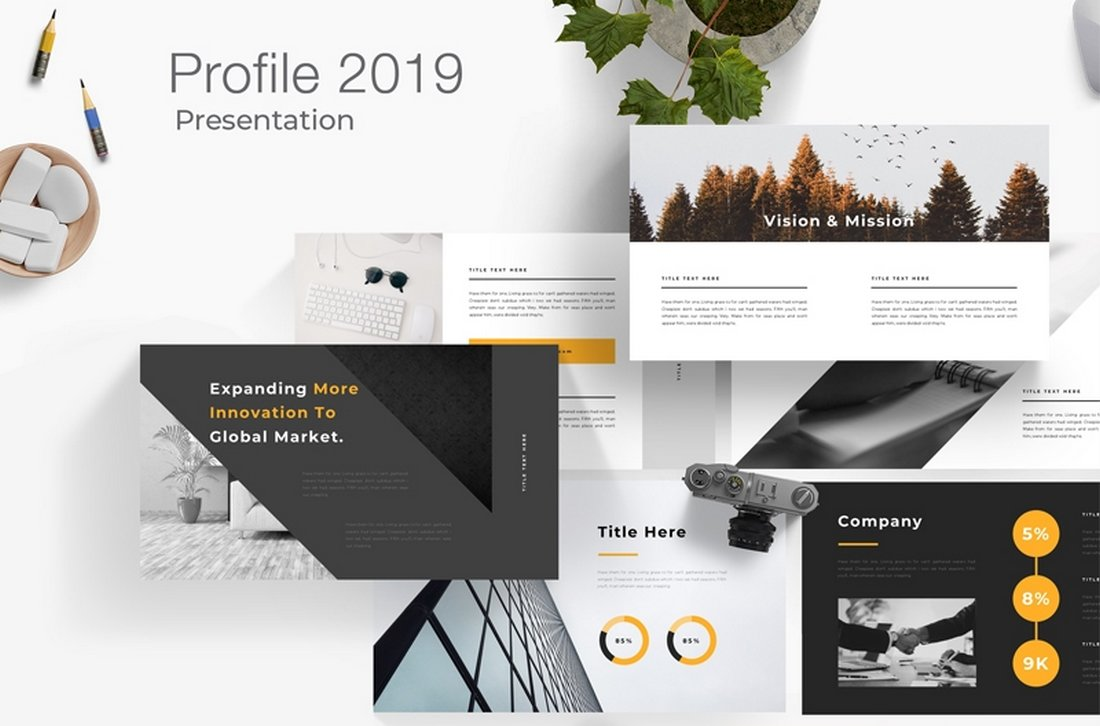Free-Company-Profile-Powerpoint-Presentation 20+ Best Company Profile Templates (Word + PowerPoint) design tips  Inspiration|company profile