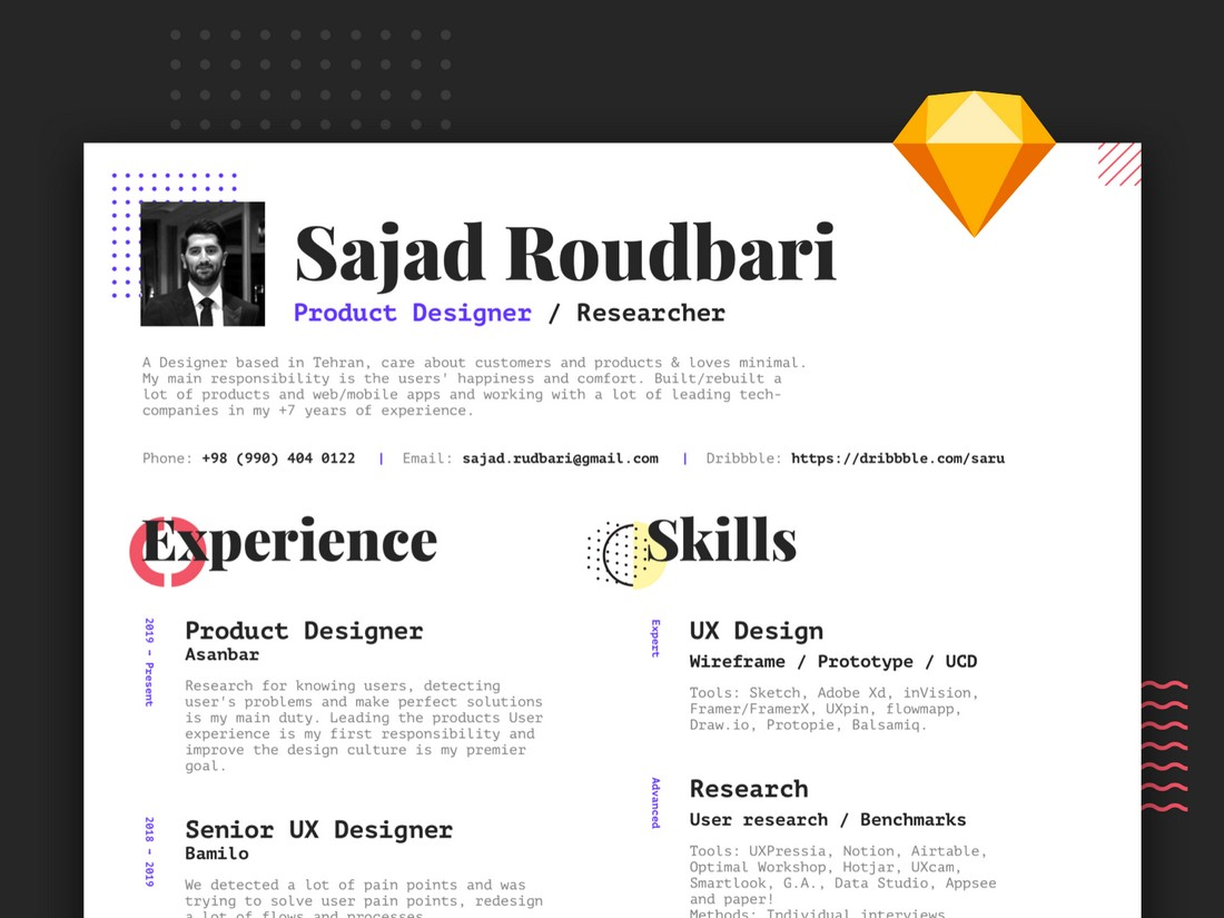 Free-Creative-A4-Sketch-Resume-Template 50+ Best CV & Resume Templates 2020 design tips