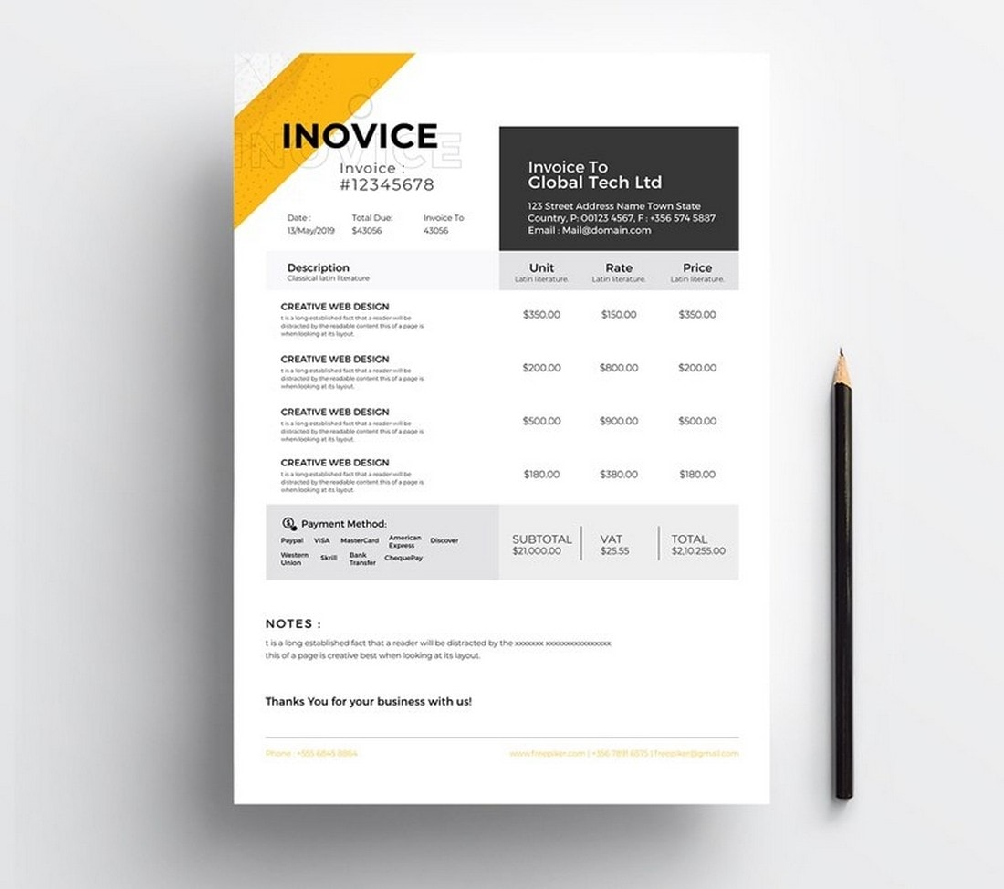 Free-Creative-Invoice-Template-for-Illustrator 20+ Best Invoice Templates for InDesign & Illustrator (Free + Premium) design tips  Inspiration