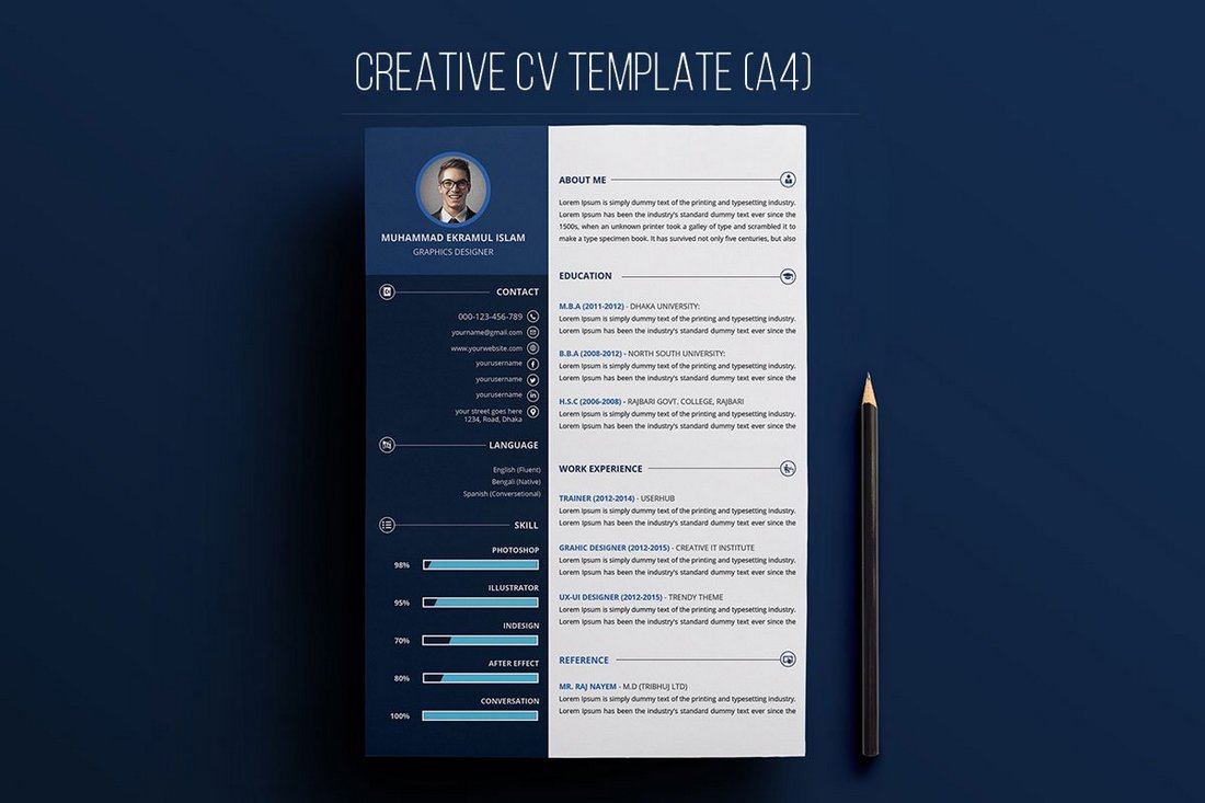 Free-Creative-Resume-PSD-Template 50+ Best CV & Resume Templates 2020 design tips