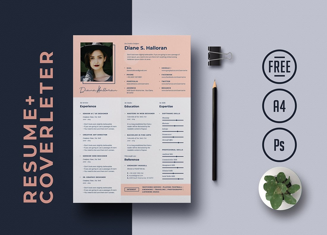 Free-Creative-Resume-Template-1 50+ Best CV & Resume Templates 2020 design tips