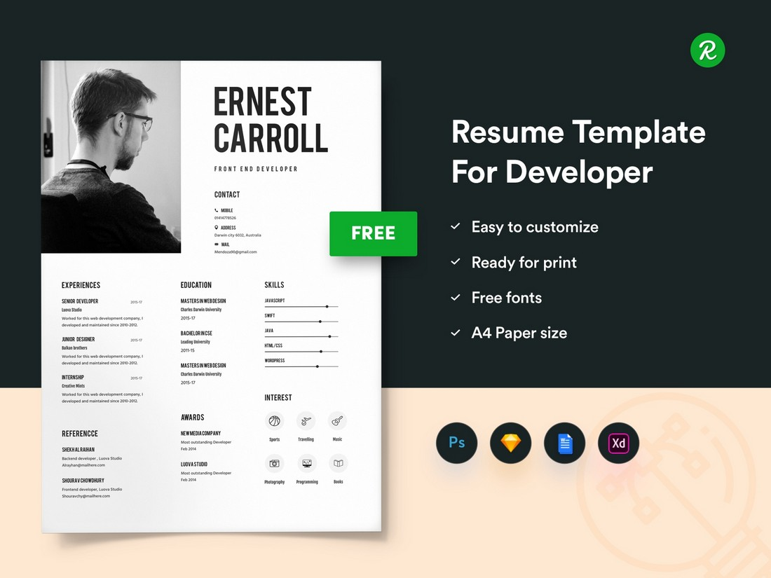 Free Creative Resume Template for MS Word