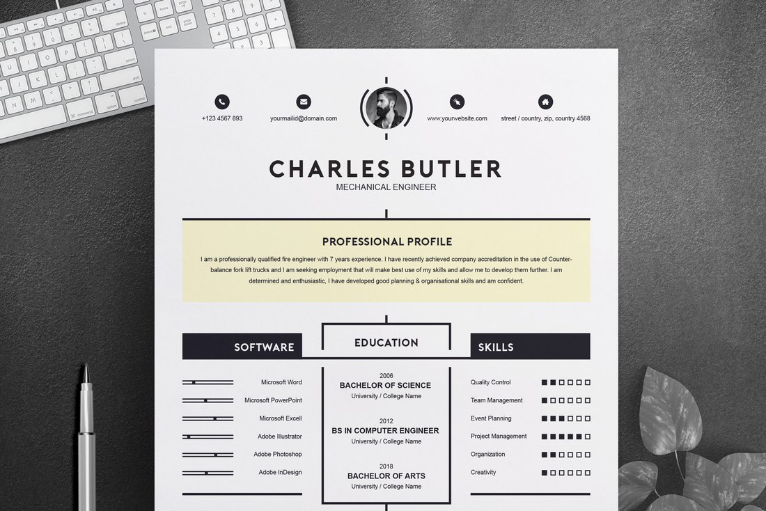 Free Creative Resume Template for Word