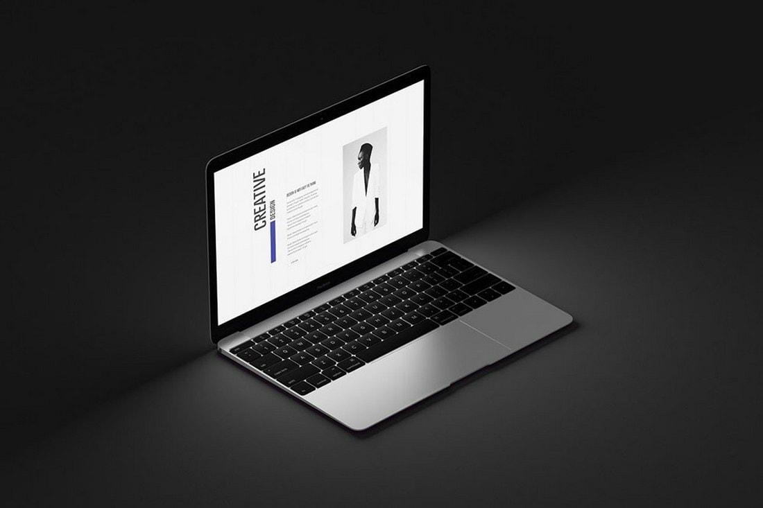 Free Dark MacBook Air Mockup