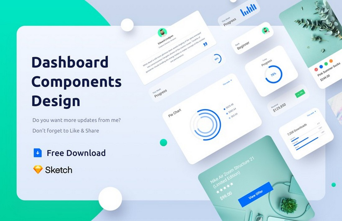 Free Dashboard Components Design Sketch Template