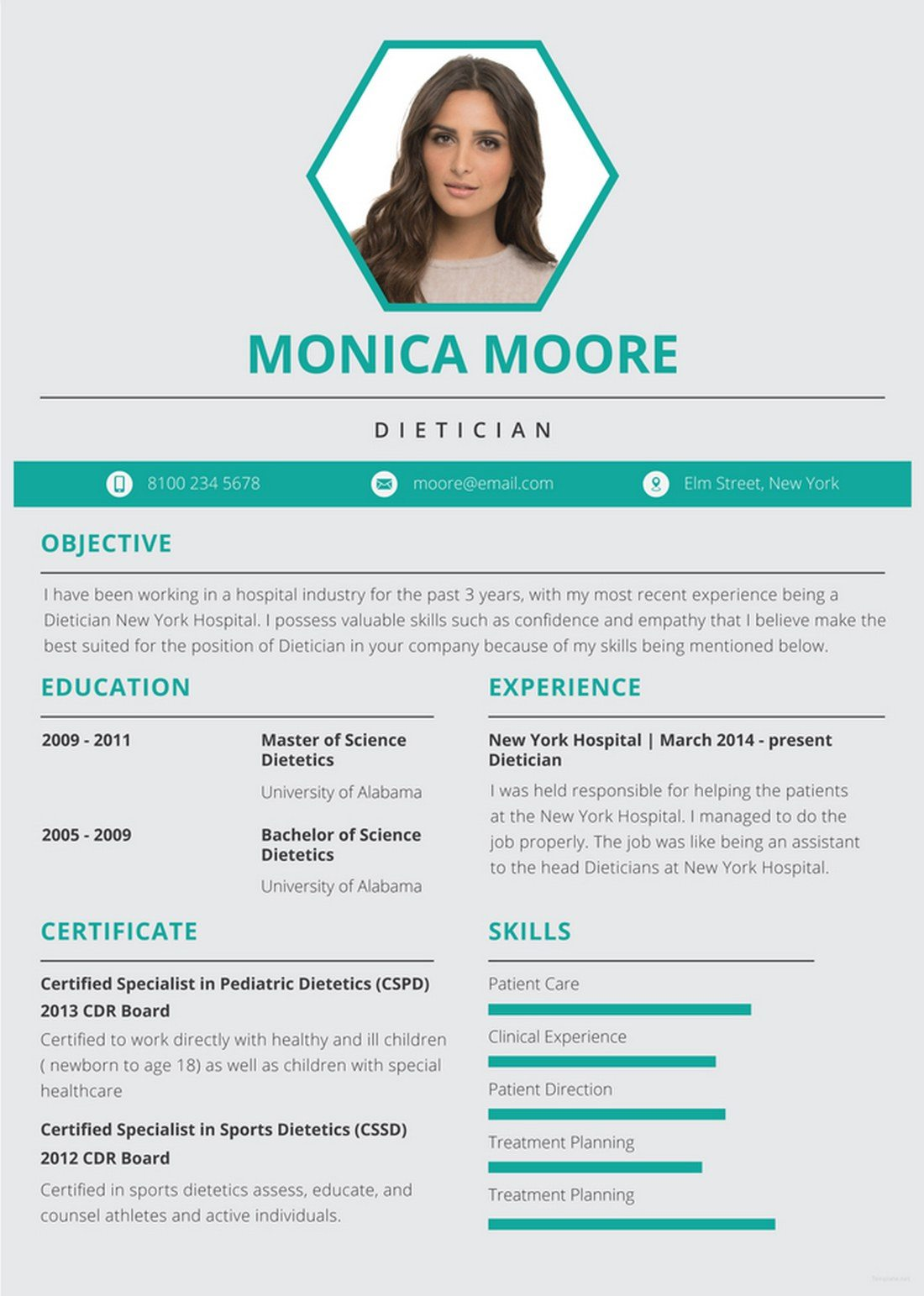 Free-Dietician-Resume-Template 20+ Best Pages Resume & CV Templates design tips