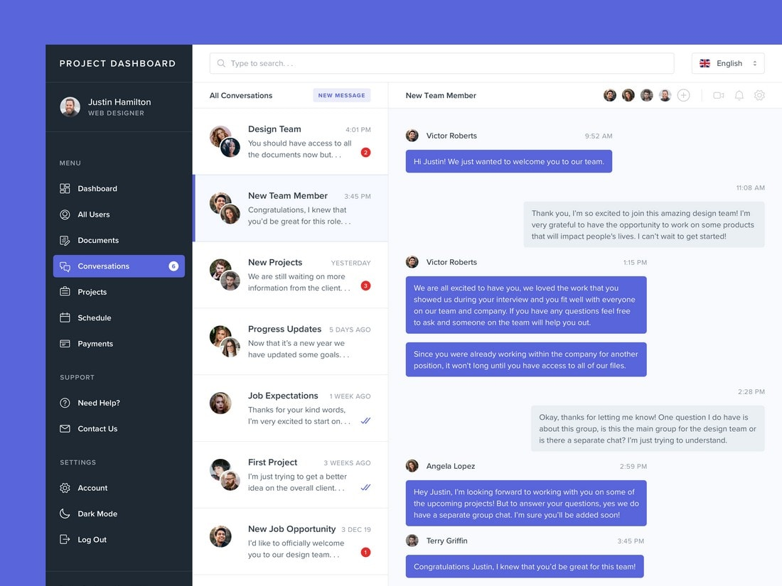 Free Direct Messages Dashboard Screen Template