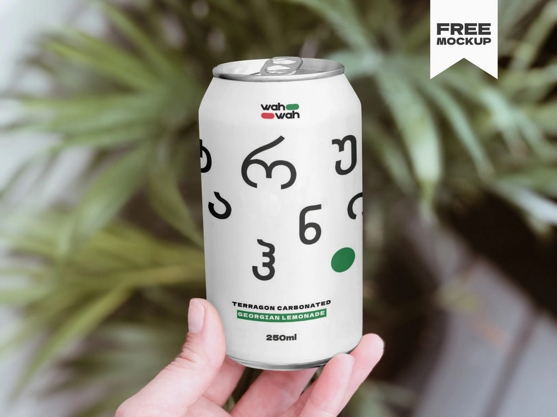Free Drink Can Mockup Template