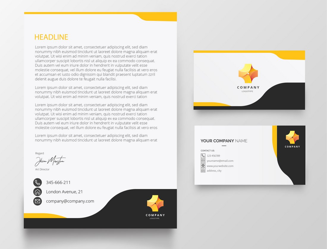 Free Elegant Letterhead & Business Card