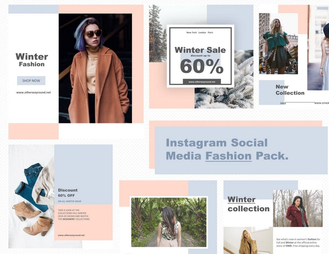 Free-Fashion-Instagram-Templates-Pack 40+ Best Social Media Kit Templates & Graphics design tips  Inspiration|facebook|social media|twitter