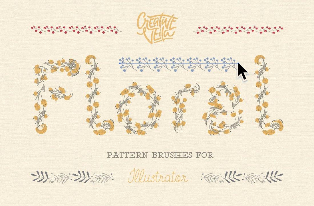 Free-Floral-Pattern-Brushes-For-Illustrator 25+ Best Free Adobe Illustrator Brushes 2021 design tips
