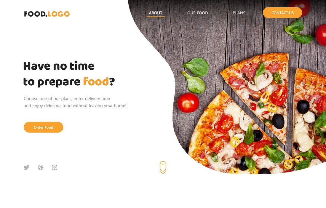 Free Food Delivery Website Adobe XD Template