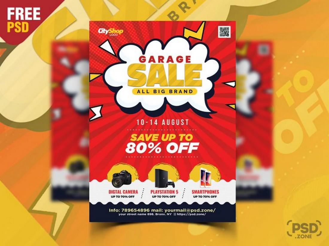 Free Garage Sale Shopping Flyer PSD