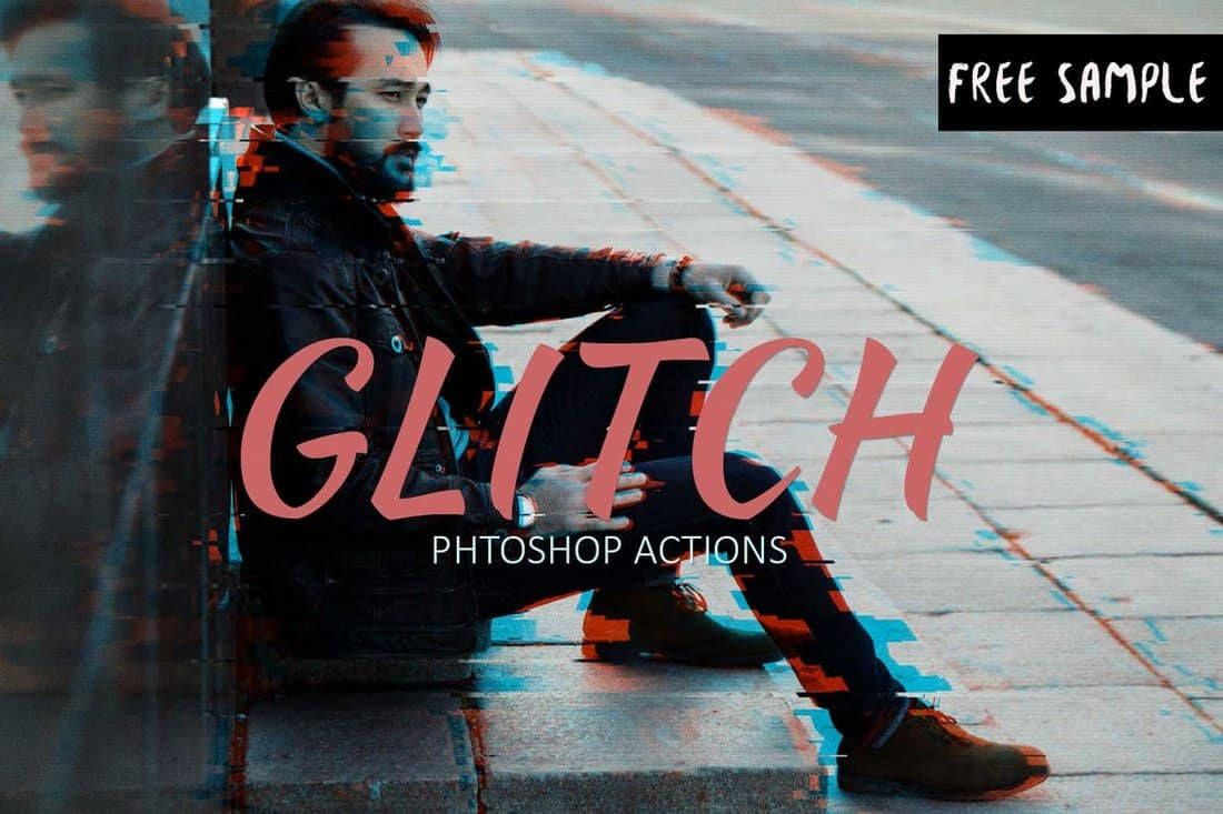 Free Glitch Photoshop Action