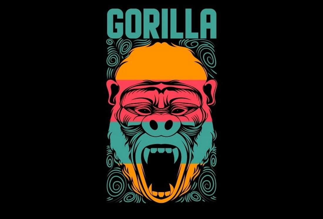 Free Gorilla Face T Shirt Design