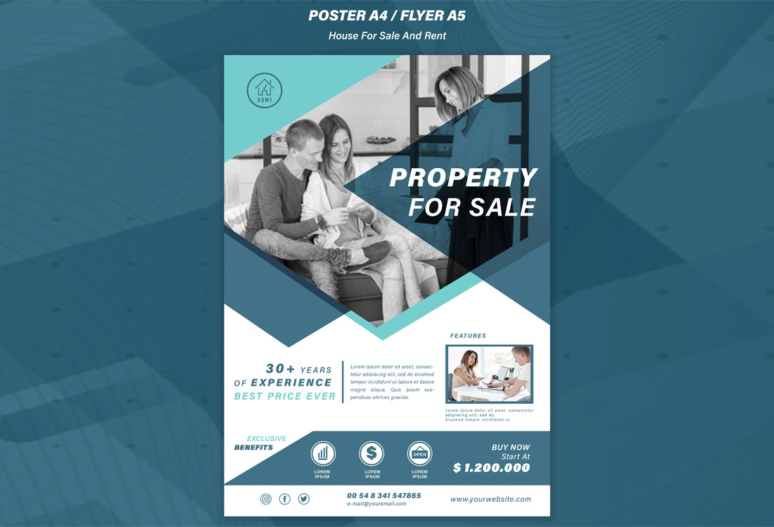 Free House for Sale Flyer Design Template