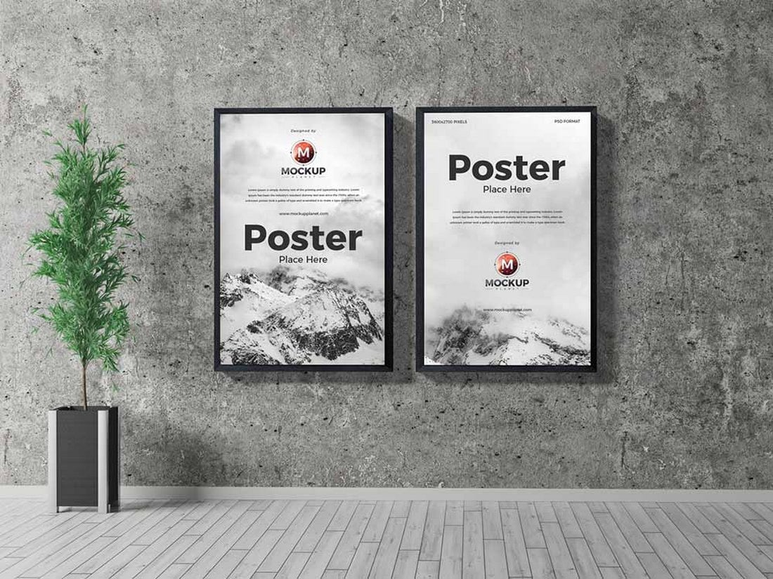 Free-Indoor-Frame-Poster-Mockup 30+ Best Poster Mockup Templates 2021 design tips