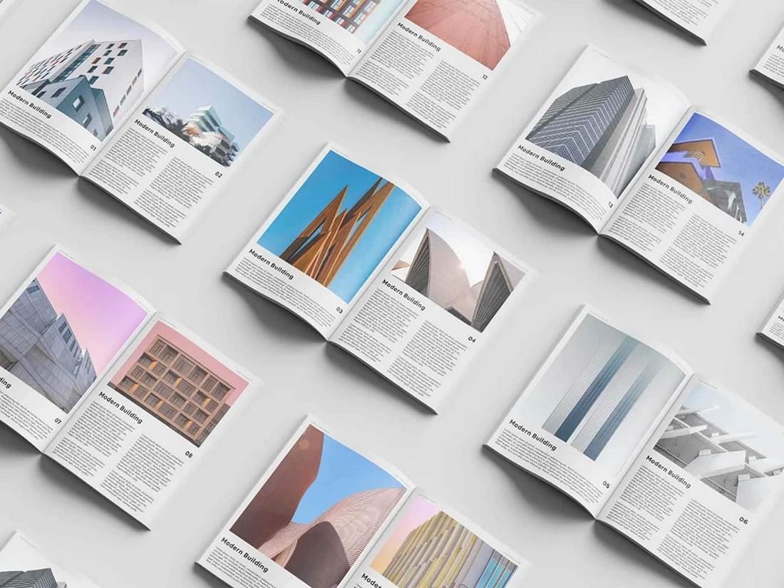 Free Isometric Open Magazine Set Mockup