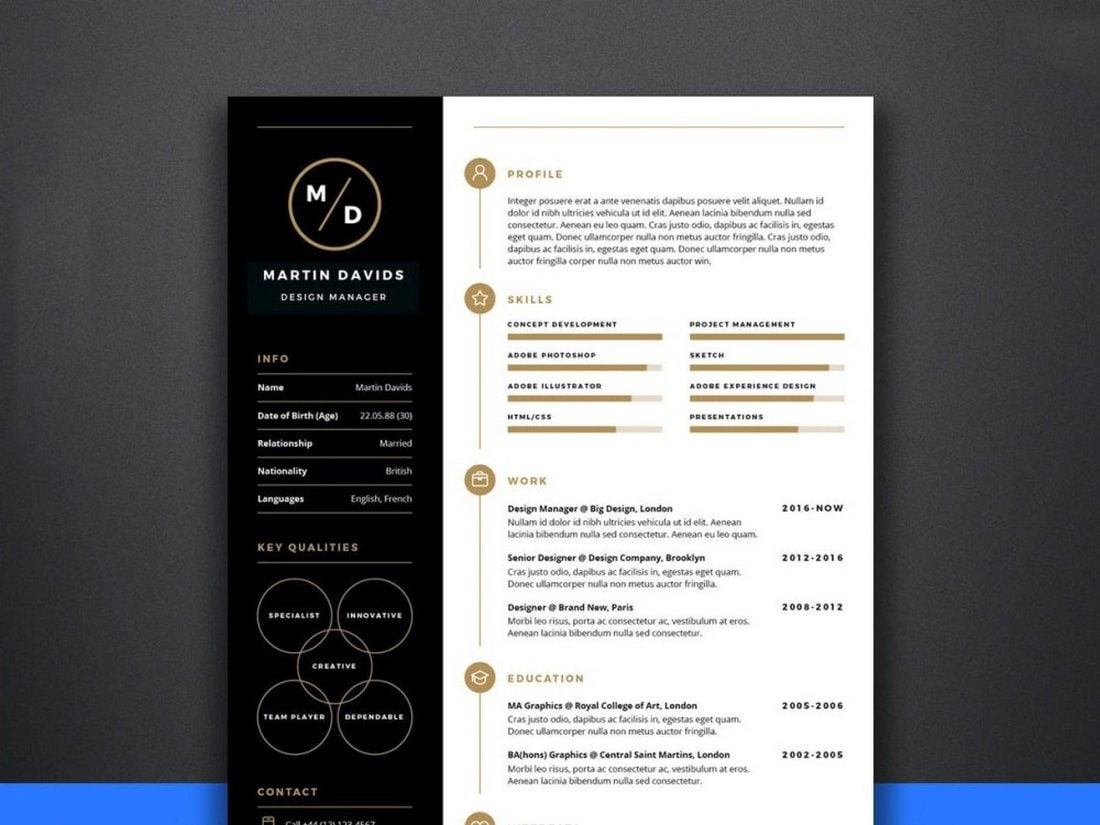 Free Manager CV Resume Template