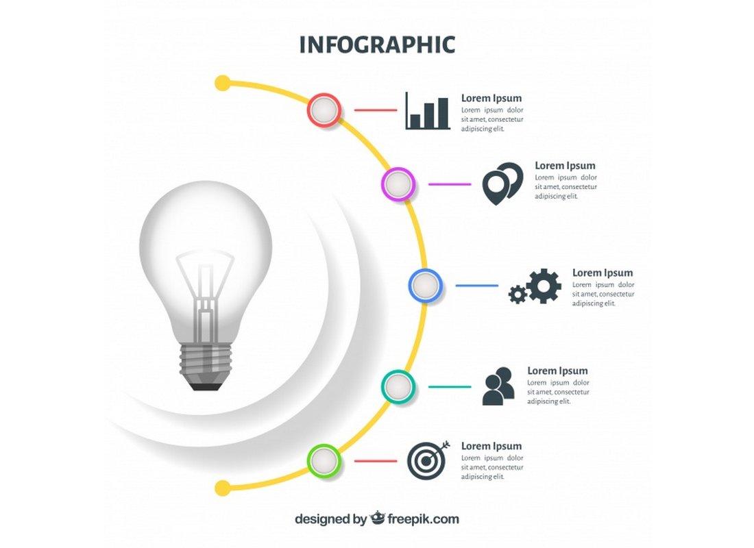 Free Minimal Light Bulb Infographic