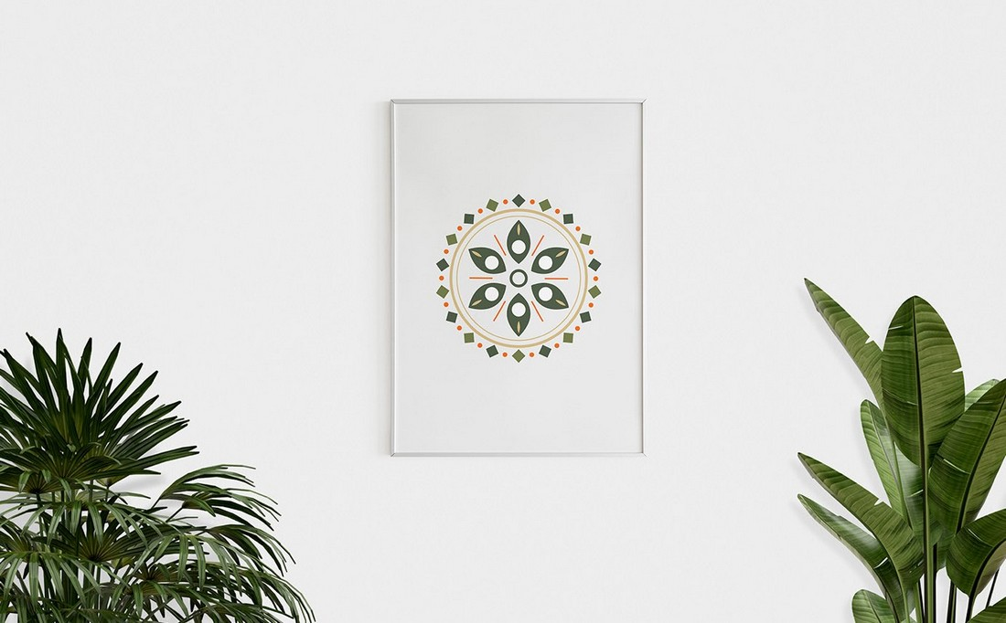 Free Minimal Poster With Plants Mockup