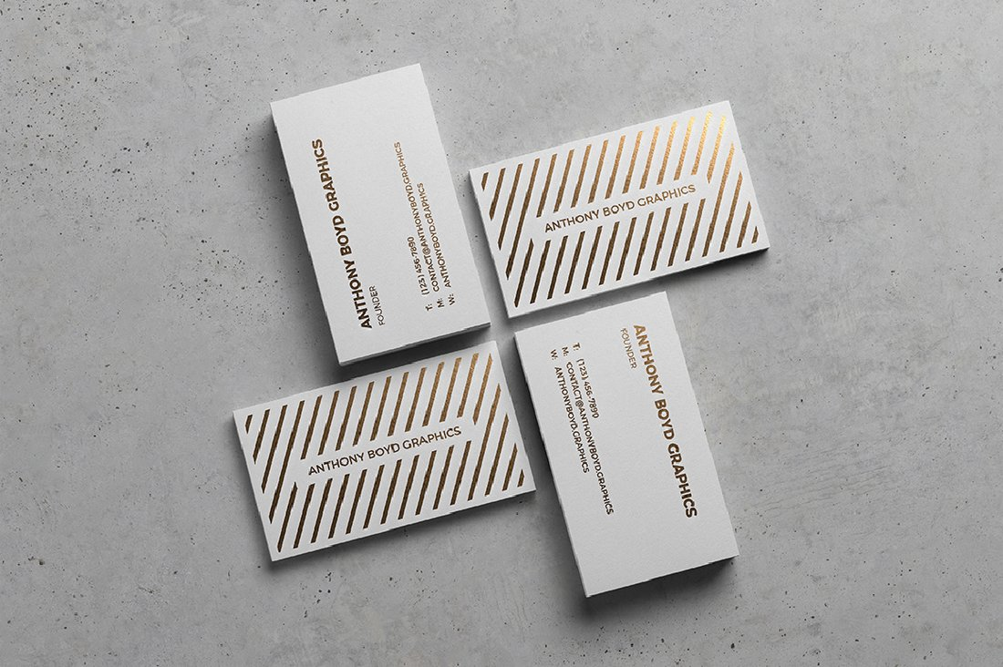 Free Modern Business Card Showcase Mockup