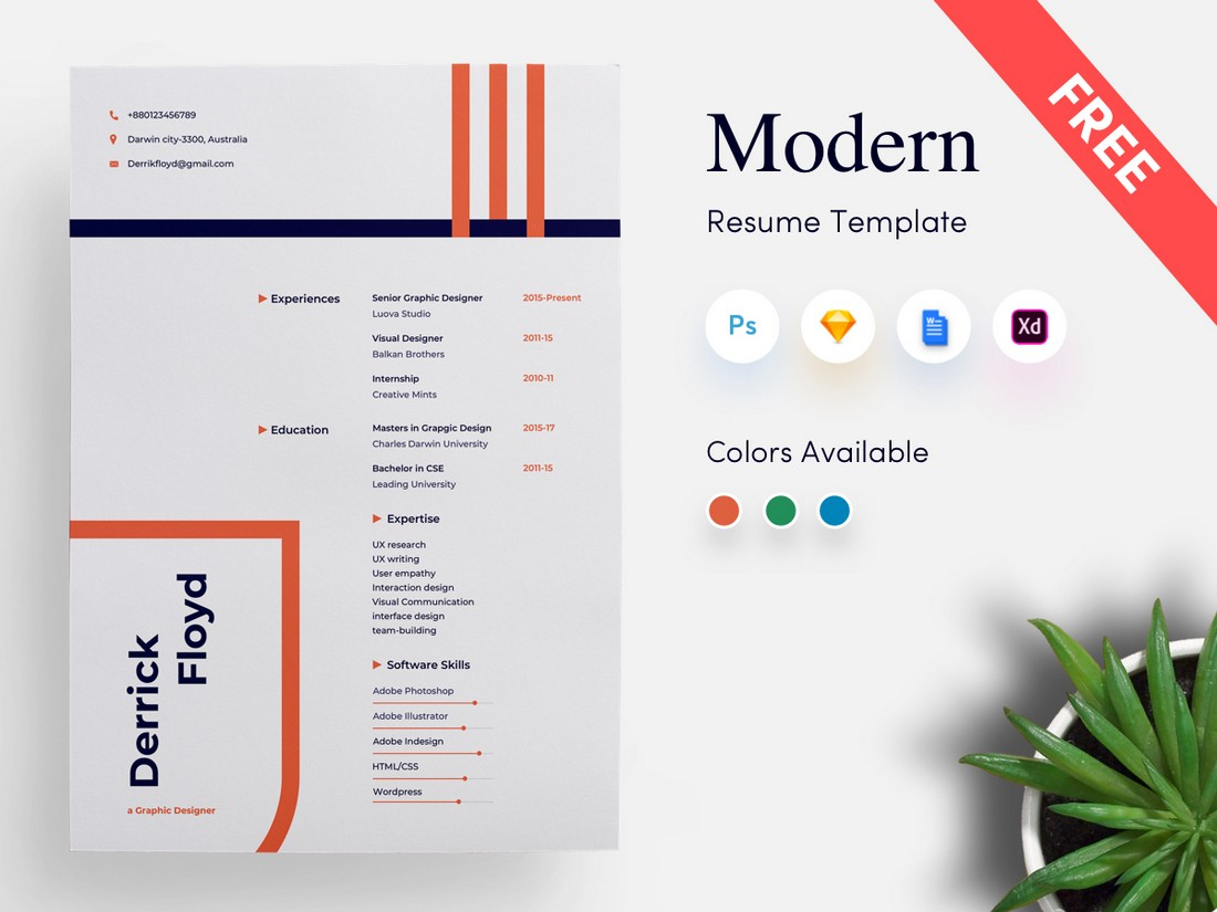 Free Modern Cover Letter Template for Word