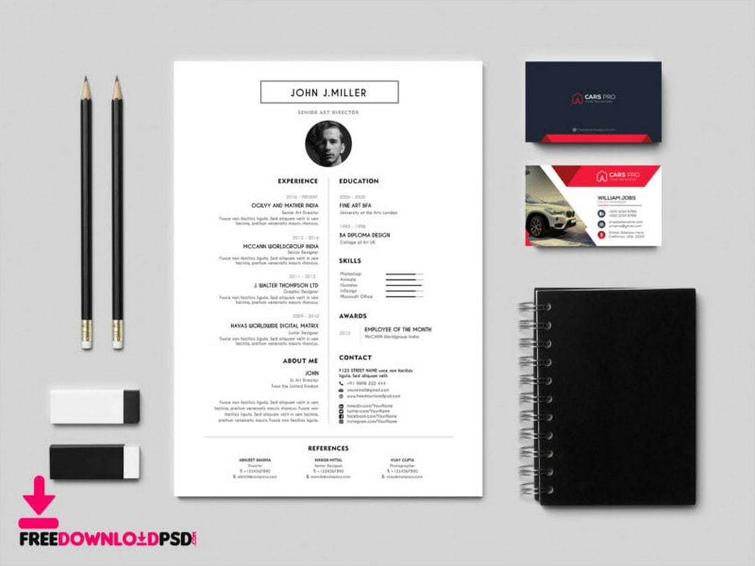 Free-Modern-Free-Resume-CV-Template 50+ Best CV & Resume Templates 2020 design tips