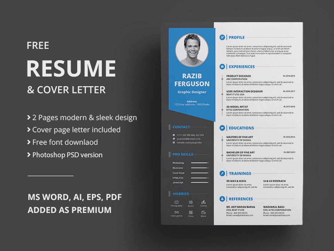 Free-Modern-Resume-Cover-Letter-Template 50+ Best CV & Resume Templates 2020 design tips